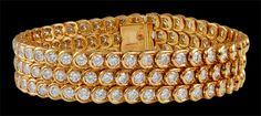 Van Cleef & Arpels 18kt. Oro Amarillo 3 filas Pulsera de Diamante.