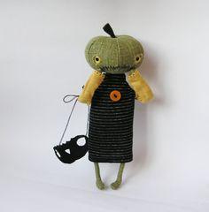 OOAK Art Doll Pumpkin Head / Primitive Pumpkin Girl by ZosiasStore