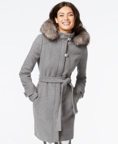 Calvin Klein Faux-Fur-Trim Belted Walker Coat   macys.com