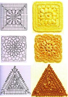 """Crochet square with graphic I love crocheting and I'm in love with Patchwor Quilt block . Here you'll learn how to crochet Square """"Grandma. Point Granny Au Crochet, Granny Square Crochet Pattern, Crochet Blocks, Crochet Diagram, Crochet Chart, Crochet Squares, Granny Squares, Crochet Triangle, Triangle Pattern"""
