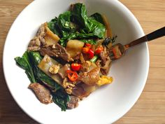 Pad see-ew with pickled chilies
