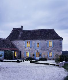 French country house at night