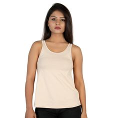 Letizia Women's Cotton Lycra A-Line Tank Tops Tops Online, Clothing Accessories, Basic Tank Top, Beige, India, Amazon, Tank Tops, Girls, Cotton