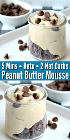 Keto Peanut Butter Mousse Looking for easy to make dessert recipes? This Keto Peanut Butter Mousse is as easy as it gets and it only has 2 net carbs! Quick healthy snacks -no added sugar and it's the perfect dessert recipe that kids can help make! Desserts Keto, Easy To Make Desserts, Keto Dessert Easy, Sugar Free Desserts, No Bake Desserts, Keto Friendly Desserts, Plated Desserts, Sugar Free Cakes, Keto Friendly Fast Food