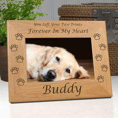 Personalized Dog Frame  You Left Your Paw by etchedinmyheart1