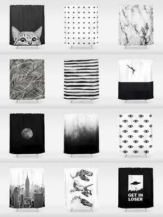 Society6 Black & White Shower Curtains - Add a bold statement to your bathroom with Society6 Shower Curtains. Want more? We also have bath mats and towels!