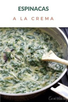 Simple recipe for Creamy Spinach, made with white sauce. They can use fresh or frozen spinach. Spinach Recipes, Vegetable Recipes, Vegetarian Recipes, Cooking Recipes, Healthy Recipes, White Sauce Recipes, Chilean Recipes, Creamy Spinach, English Food