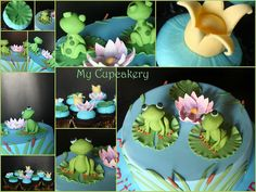 Christening cake for twin frog princes with matching mini cupcakes with lilly pads, crowns and lotus blossom flowers. Cupcakes, Cupcake Cakes, Frog Food, Pond Cake, Frog Birthday Party, Eat The Frog, Frog Cakes, Twins Cake, Gum Paste Flowers