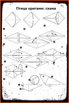 Оригами Птицысхеми