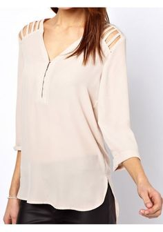 Leisure Style V-Neck Hollow Out Shoulder Three Quarter Sleeve Beige Blouse