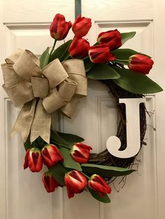 Red Tulip Wreath, Spring Wreath, Monogram Wreath, Burlap Bow