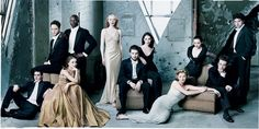 And so, here's a great idea for your wedding portraits: rather than doing the traditional posed wedding party shots, take a cue from one of Vanity Fair's Hollywood Issue: