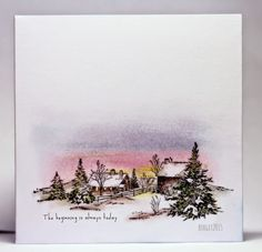 "By Birgit Edblom. Stamp is ""Winter Farm"" from Serendipity Stamps. Sponged sky."