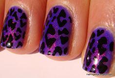 shiny purple leopard nails