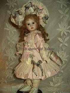 Ecru Green Gold Silk Antique Lace French Doll Dress Fabric Kit 12 Letita   eBay
