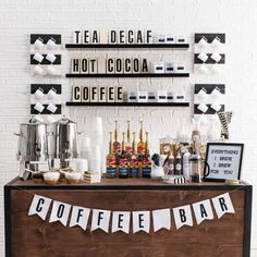 Coffee lovers rejoice with this coffee bar! Perfect for your wedding, party, or any celebration, this food bar is brimming over with fun DIYs and stylish sophistication. Hints of m bar ideas party brunch wedding Coffee Bar Party, Coffee Bar Wedding, Coffee Themed Party, Starbucks Wedding, Coffee Bridal Shower, Hotel Lobby Design, Wedding Brunch Reception, Party Wedding, Wedding Planning