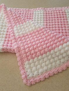 Pink and white handmade extra thickness crochet baby blanket. New baby gift Pink and white handmade extra thickness crochet baby blanket. New baby gift – Baby products Crochet Baby Blanket Beginner, Baby Girl Crochet, Crochet Blanket Patterns, Baby Knitting Patterns, Bobble Stitch, Knitted Baby Blankets, Baby Afghans, Crochet Gifts, New Baby Products