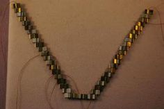 Golden Waterfall Tila Bead Necklace Free Beading Pattern: Stitch the Other Half of the Necklace