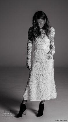 rime arodaky fall 2017 bridal long sleeves bateau neckline full embellishment lace elegant short wedding dress low back (20) mv