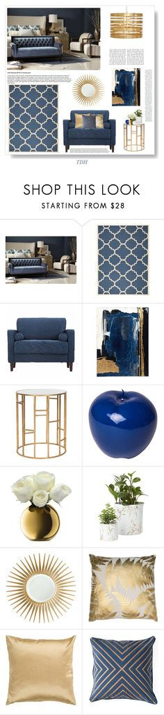 """""""Blue Cream & Gold Bedroom"""" by talvadh ❤ liked on Polyvore featuring interior, interiors, interior design, home, home decor, interior decorating, Safavieh, Bitossi, LSA International and Barclay Butera"""