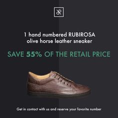 World Novelty: The RUBIROSA team launches the world's first horse olive leather sneakers. Swiss Design, Leather Sneakers, Cole Haan, Gentleman, Oxford Shoes, Dress Shoes, Product Launch, Handmade, Leather Court Shoes