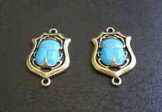 destash - scarab gold-plated zinc alloy connector charms with turquoise enamel - about 35x20mm - 2 pieces