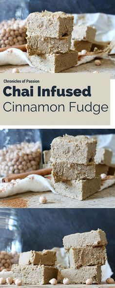 This healthy, #vegan fudge tastes like a chai latte, with loads of cinnamon, but it's made with nothing but healthy ingredients and is also packed with #protein!
