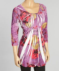 Love this Plum Floral Sublimation Three-Quarter Sleeve Top on #zulily! #zulilyfinds