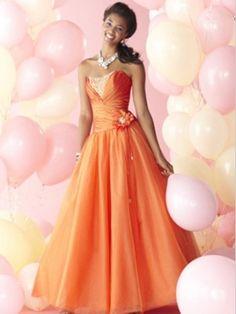 Orange A-line Scoop Neckline Floor Length Graduation Dress