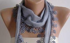 Elegance Grey Shawl / Scarf with Lacy Edge by womann on Etsy, $13.50