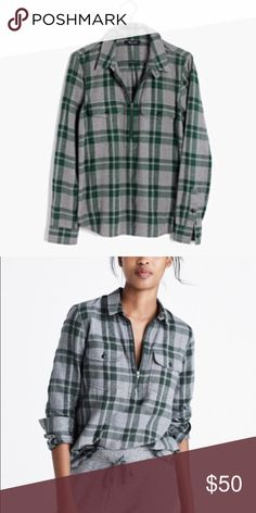 NWT! Madewell Flannel Front Zip Popover Size XS Brand new with tags, never worn. Zipper Popover. 100% Cotton. True to size. No trades. Madewell Tops Button Down Shirts