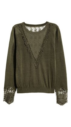 Jumper with lace details - Dark khaki green - Hijab Fashion, Fashion Outfits, Autumn Clothes, Knit Shirt, Dressed To Kill, Sweater Outfits, Sweater Weather, Pulls, Blouse Designs