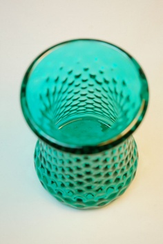 Emerald Green Blown Glass Vase with Quilt Mold by katiemaisch, $50.00