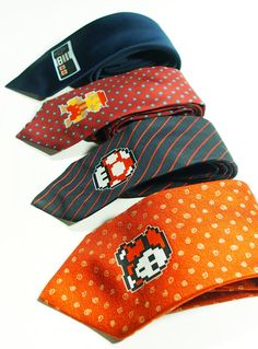 for you and your cutie, Video Game Collection ties - 4 nintendo Old Style Necktie. $85.00, via Etsy. $25 each