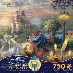 Beautiful puzzle - Disney's Beauty and the Beast. One of a series by illustrator artist Thomas Kinkade.
