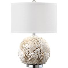 Rosa Table Lamp ($200) ❤ liked on Polyvore featuring home, lighting, table lamps, sphere table lamp, sea shells table lamp, white table lamp, white light and sphere light