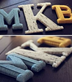 Put yarn around wooden letters instead of paintings