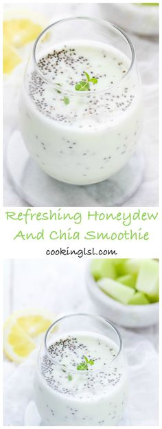 Healthy and Delicious Summer Favorite Refreshing Honeydew And Chia Smoothie Drinks Freezer Smoothies, Apple Smoothies, Good Smoothies, Green Smoothies, Healthy Shakes, Healthy Drinks, Healthy Recipes, Healthy Breakfasts, Healthy Foods