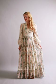 1970s maxi dress / 70s gunne sax dress / new old stock / Charmed