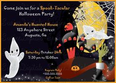 Halloween Spooktacular Haunted house and Ghost Party invitation