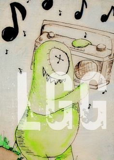 ABC art Letter M M is for Music by LittleGreenGuy on Etsy, $15.00