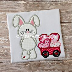 Bunny Wagon Hearts Applique by MunchkymsDesigns  HAVE