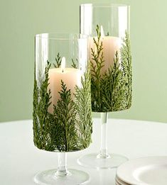 Evergreen Candles: Coat greenery with adhesive spray, adhere to the jar & trim  bottoms / More super ideas for DIY candles on site
