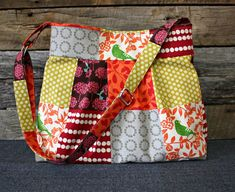 Echino Story Patchwork Pleated Handbag / by SweetPeaTotes on Etsy, $52.00