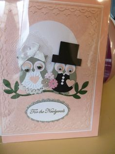 """Joolsongrubb""wedding card using su owl punch (idea on pinterest)"