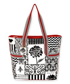 Take a look at this Black & White Patchwork 19'' Tote on zulily today!