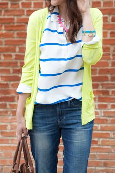 Don't be afraid to add a pop of color through your accessories or throw overs! We're a fan of this neon lime sheer cardigan over stripes & jeans. What bright color are you looking to add to your spring wardrobe?