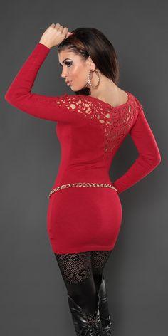 Модель 0000ISF007, удлиненный пуловер с глубоким V-образным вырезом, шитьем на плечах и спине. Цвет: темно-красный, размер: 42-46 (один размер)