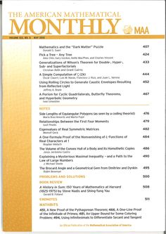 American Mathematical Monthly, The. Vol. 122, nº 5, may 2015.