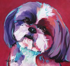 Shih Tzu, Dog Art, Pop Art, Pet Portraits, Acrylic, Painting, Modern Dogs, Pink…